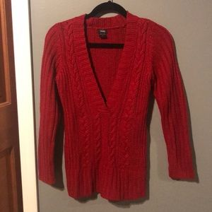 Red Cable Knit V-Neck Sweater